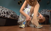 Nylon Feet Line Stephanie Wearing Classy Hose A Cutie Flashes Her Yummy Feet And Her Stylish Shoes Nylon Feet Line