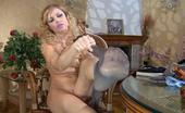 Nylon Feet Line Blanch Hot Curly-Head Wraps Her Black Pantyhose Around The Toes Of Her Yummy Feet Nylon Feet Line