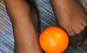 Nylon Feet Line Melanie Amazing Babe In Black Reinforced Toe Pantyhose Playing With Orange On Floor Nylon Feet Line