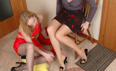 Nylon Feet Line Dorothy & Isolde Red Hot Gal Stroking Babe'S Boobs And Pussy With Her Feet Clad In Pantyhose Nylon Feet Line