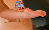 Nylon Feet Line Dolores Busty Chick Eagerly Dusting With Her Delicious Feet Clad In Nylon Pantyhose Nylon Feet Line