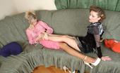Nylon Feet Line Sarah & Trinity Lustful Chicks Petting Each Other'S Feet Clad In Reinforced Toe Pantyhose Nylon Feet Line