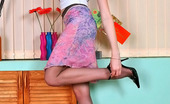 Nylon Feet Line Frieda Kinky Gal In Open Platform Shoes Ice Creaming Her Legs In Soft Silky Tights Nylon Feet Line