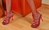 Nylon Feet Line Melanie Upskirt Chick In Red Spike Shoes Spreading Her Long Legs In Black Tights Nylon Feet Line