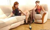 Nylon Feet Line Tibbie & Marion Pantyhosed Chicks Dangling Their Sexy Shoes Before Playing Nylon 69 Game Nylon Feet Line