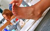 Nylon Feet Line 482021 Theodora Naughty Gal Caressing Her Delicious Feet Clad In Nylon Hose In The Bathroom Nylon Feet Line