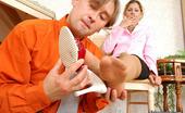 Nylon Feet Line Sophia & Morris Luscious Babe In Barely Visible Pantyhose Enjoying Frantic Nylon Oral Games Nylon Feet Line