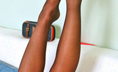 Nylon Feet Line Theodora Sexy Gal Putting Aside Laptop And Licking Her Lovely Feet Clad In Pantyhose Nylon Feet Line