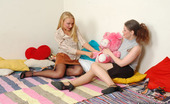 Nylon Feet Line Patricia & Ella Hotties In Black Shoes Playing With Cushions Before Stroking Nyloned Feet Nylon Feet Line