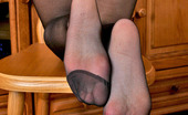 Nylon Feet Line Floy Cutie Showing Her Bubble Butts And Sexy Feet Through Black Control Top Hose Nylon Feet Line