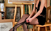 Nylon Feet Line Gertie Artist In Spike Heel Shoes Revealing Her Extremely Sexy Feet Clad In Tights Nylon Feet Line