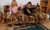 Nylon Feet Line Maria & Etta Steamy Babe Getting Her Pantyhose Clad Pink Stroked With Stiletto Heel Shoe Nylon Feet Line