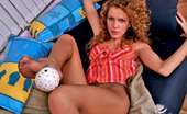 Nylon Feet Line 482125 Viola Curly Gal Flashing Her Boobs While Teasing With Her Yummy Feet Clad In Hose Nylon Feet Line