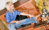 Nylon Feet Line Penelope Blondie Stretching Her Amazing Long Legs While Flashing Her Pantyhosed Feet Nylon Feet Line