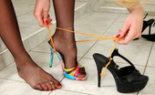 Nylon Feet Line Constance Hottie Stroking Her Pussy Clad In Black Pantyhose With Her High Heel Sandal Nylon Feet Line