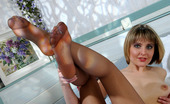 Nylon Feet Line Grace Raunchy Babe In Reinforced Toe Pantyhose Stuffing Dildo With Her Yummy Feet Nylon Feet Line