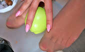 Nylon Feet Line Jessica Red Hot Gal In Open Toe Shoes Stroking Her Yummy Nyloned Feet With An Apple Nylon Feet Line