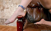 Nylon Feet Line Alana Voluptuous Brunette Playing With Her Embellished Feet Clad In Silky Tights Nylon Feet Line