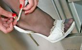 Nylon Feet Line Cora Spicy Babe In Open Toe Shoes Spreading Her Sexy Legs Encased In Grey Tights Nylon Feet Line