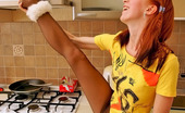 Nylon Feet Line Natalie Redhead Cutie Tenderly Massaging Her Feet In Black Reinforced Toe Pantyhose Nylon Feet Line