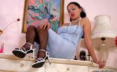Nylon Feet Line Laura Kinky Babe Sliding Dildo Under Her Pantyhose Waistband Before Hot Foot Play Nylon Feet Line