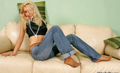 Nylon Feet Line Meggy Blonde Cutie In Tan Pantyhose And Denim Caressing Her Sexy Feet With Beads Nylon Feet Line