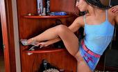Nylon Feet Line Nolly Hottie In High Heels And Luxury Tights Rubbing Her Feet Against Sea Shells Nylon Feet Line