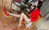 Nylon Feet Line Judith Salacious Gal Taking Off Her Red High Heel Shoes And Massaging Nyloned Feet Nylon Feet Line
