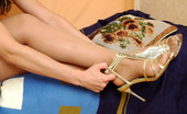 Nylon Feet Line Melanie Sultry Chick Savoring The Taste Of Her Yummy Feet In Soft Silky Pantyhose Nylon Feet Line