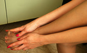 Nylon Feet Line Susie Hottie Tenderly Touching Her Feet While Putting On Silky Hose And Her Shoes Nylon Feet Line