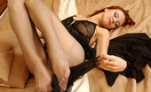 Nylon Feet Line Marion Lewd Red-Haired Chick Caressing Her Pantyhosed Feet Before A Hard Work Day Nylon Feet Line