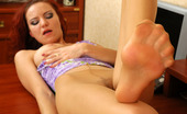 Nylon Feet Line Marion Curly Secretary In Open Toes Pantyhose Tenderly Touching Her Nyloned Feet Nylon Feet Line