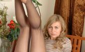Nylon Feet Line Stephanie Kinky Gal With Killer Body Exposing Her Feet In Grey Reinforced Toys Tights Nylon Feet Line