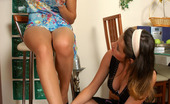 Nylon Feet Line Sheila & Annabel Heated Lesbian Chick Eagerly Tongue-Tickling Feet Clad In Suntan Pantyhose Nylon Feet Line