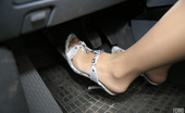 Nylon Feet Line Lorine Awesome Babe Prefers Driving Car With Her Feet In Reinforced Toes Pantyhose Nylon Feet Line