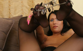 Nylon Feet Line Mishelle Curvaceous Chick In Control Top Pantyhose Playing With Foot Embellishment Nylon Feet Line
