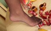 Nylon Feet Line Luka Frisky Girl In Suntan Reinforced Toe Hose Having Fun Playing With A Banana Nylon Feet Line