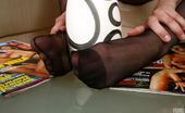 Nylon Feet Line Marina Smoking Chick Exposing Her Feet Encased In Black Reinforced Toe Pantyhose Nylon Feet Line
