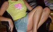 MY NN GF Pics Of A Sexy Brunette Cutie In A Mini Skirt Posing In The Garden MY NN GF