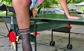 Fashion Pantyhose Blonde Evelin Posing In Fashion Pantyhose On The Tennis Table Fashion Pantyhose