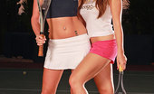 Euro Girls On Girls Cate Harrington & Natalia Forrest Lesbian-Licking & Fingering On The Tennis Court At Night! Euro Girls On Girls