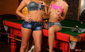 Euro Girls On Girls Linet & Sasha Rose Two Girls Cue Stick Their Assholes At The Local Dive Bar Euro Girls On Girls