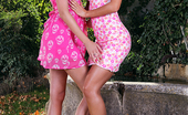 Euro Girls On Girls Holly Anderson Aka Holly Pearce & Satin Bloom Kinky Lesbians Have A Strap-On Anal Sex Party In The Garden Euro Girls On Girls