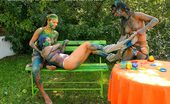 All Wam Three Hot Babes Getting Messy And Naked With Paint Outside All Wam