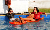 All Wam Three Hot Fully Clothed Lesbian Babes Playing In The Pool All Wam