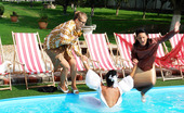 All Wam A Horny Gorgeous Bride Thrown Into The Large Outdoor Pool All Wam