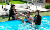 All Wam Gorgeous Clothed Babes Love Splashing Water In The Pool All Wam