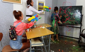 All Wam Cute Learning Girls Shooting Dirty Stuff With Water Pistols All Wam
