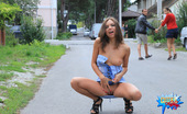 Cuties Flashing Tiny Tits And Shaven Pussy Exposed In The Street Cuties Flashing