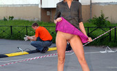 Cuties Flashing Improvised Naked Show For A Couple Of Road Workers Cuties Flashing